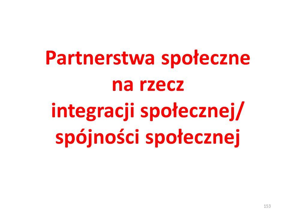153 Partnerstwa społeczne na rzecz integracji społecznej/ spójności społecznej