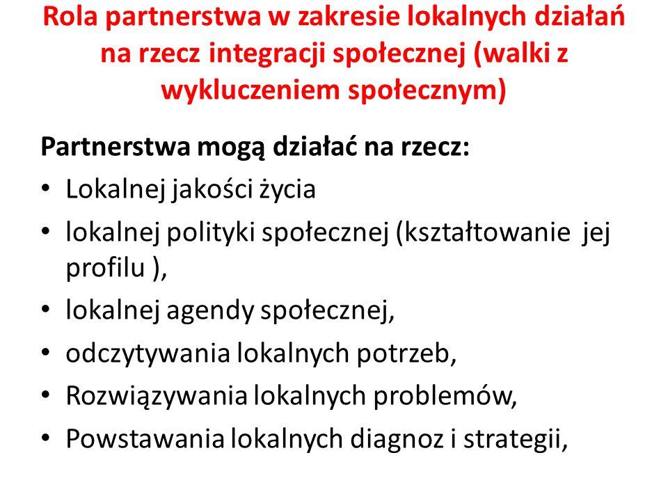 Rola partnerstwa w zakresie lokalnych działań na rzecz integracji społecznej (walki z wykluczeniem społecznym) Partnerstwa mogą działać na rzecz: Loka