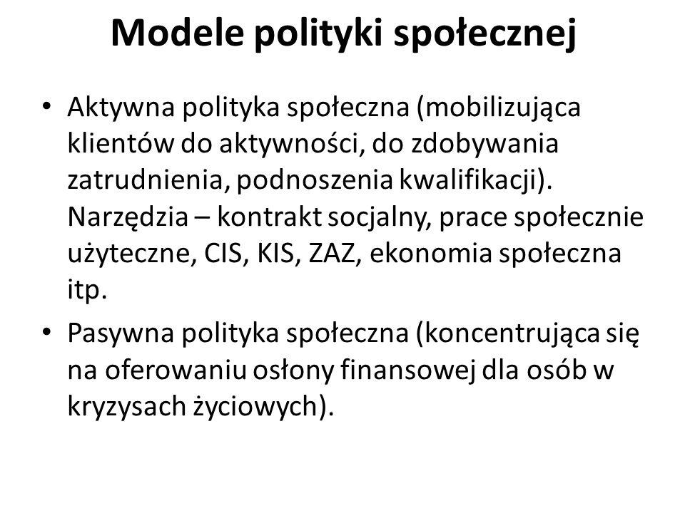 Modele polityki społecznej Aktywna polityka społeczna (mobilizująca klientów do aktywności, do zdobywania zatrudnienia, podnoszenia kwalifikacji). Nar