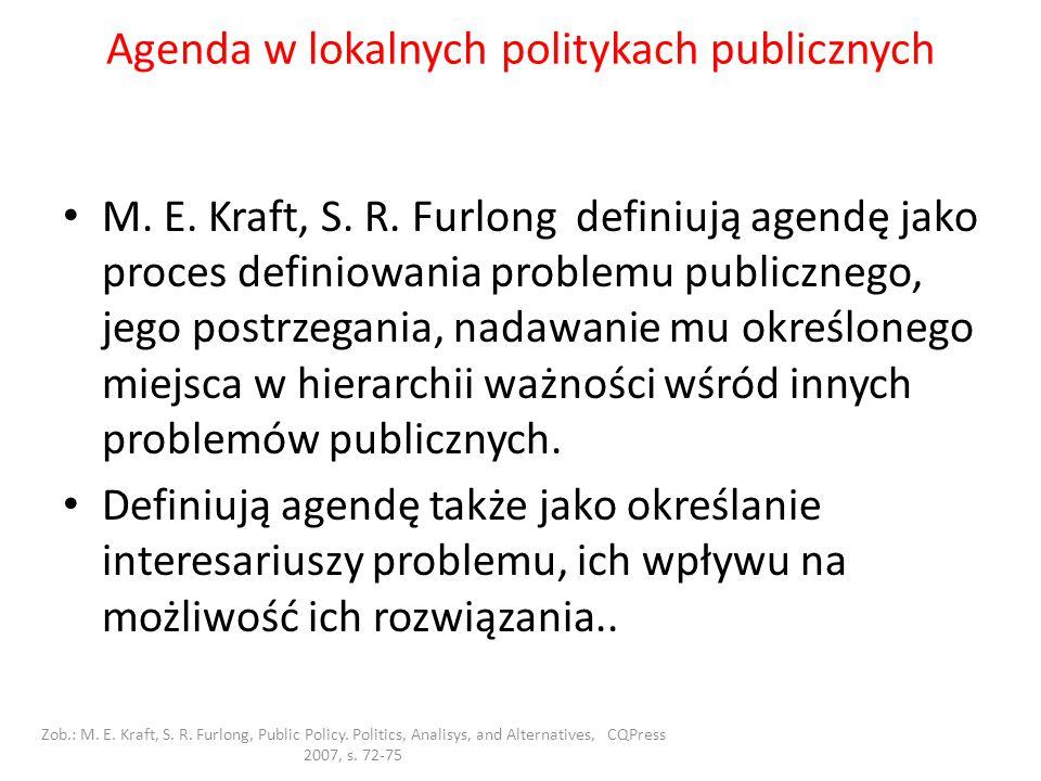 Agenda w lokalnych politykach publicznych M. E. Kraft, S. R. Furlong definiują agendę jako proces definiowania problemu publicznego, jego postrzegania