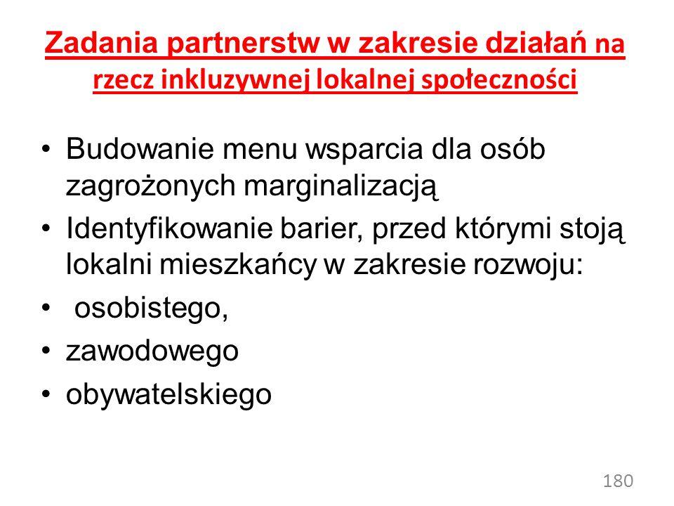 180 Zadania partnerstw w zakresie działań na rzecz inkluzywnej lokalnej społeczności Budowanie menu wsparcia dla osób zagrożonych marginalizacją Identyfikowanie barier, przed którymi stoją lokalni mieszkańcy w zakresie rozwoju: osobistego, zawodowego obywatelskiego