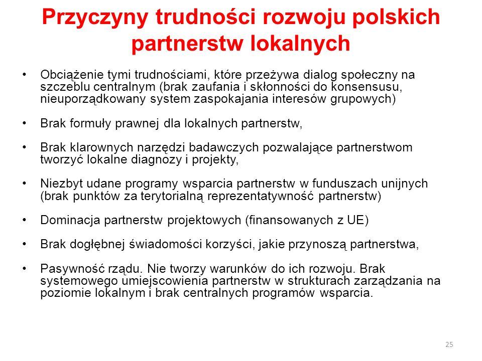 25 Przyczyny trudności rozwoju polskich partnerstw lokalnych Obciążenie tymi trudnościami, które przeżywa dialog społeczny na szczeblu centralnym (brak zaufania i skłonności do konsensusu, nieuporządkowany system zaspokajania interesów grupowych) Brak formuły prawnej dla lokalnych partnerstw, Brak klarownych narzędzi badawczych pozwalające partnerstwom tworzyć lokalne diagnozy i projekty, Niezbyt udane programy wsparcia partnerstw w funduszach unijnych (brak punktów za terytorialną reprezentatywność partnerstw) Dominacja partnerstw projektowych (finansowanych z UE) Brak dogłębnej świadomości korzyści, jakie przynoszą partnerstwa, Pasywność rządu.