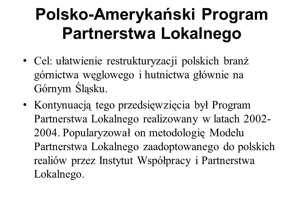 Polsko-Amerykański Program Partnerstwa Lokalnego Cel: ułatwienie restrukturyzacji polskich branż górnictwa węglowego i hutnictwa głównie na Górnym Ślą