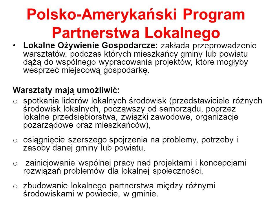 Polsko-Amerykański Program Partnerstwa Lokalnego Lokalne Ożywienie Gospodarcze: zakłada przeprowadzenie warsztatów, podczas których mieszkańcy gminy lub powiatu dążą do wspólnego wypracowania projektów, które mogłyby wesprzeć miejscową gospodarkę.