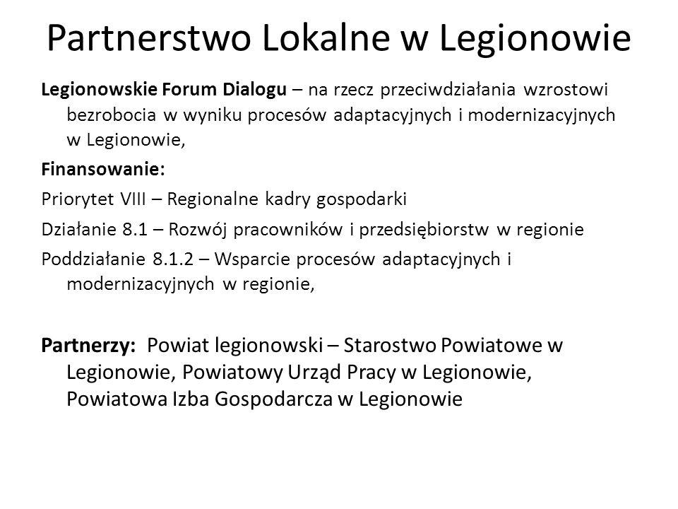 Partnerstwo Lokalne w Legionowie Legionowskie Forum Dialogu – na rzecz przeciwdziałania wzrostowi bezrobocia w wyniku procesów adaptacyjnych i moderni