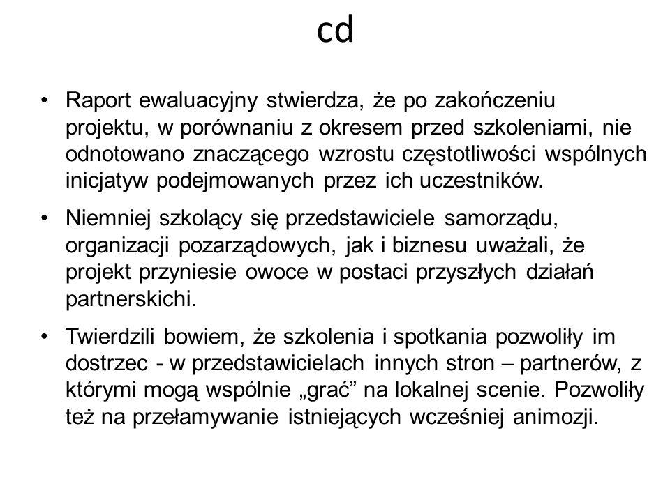 cd Raport ewaluacyjny stwierdza, że po zakończeniu projektu, w porównaniu z okresem przed szkoleniami, nie odnotowano znaczącego wzrostu częstotliwośc