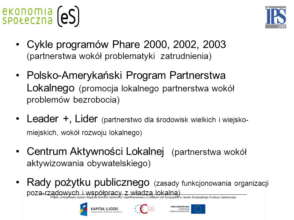 Cykle programów Phare 2000, 2002, 2003 (partnerstwa wokół problematyki zatrudnienia) Polsko-Amerykański Program Partnerstwa Lokalnego (promocja lokaln