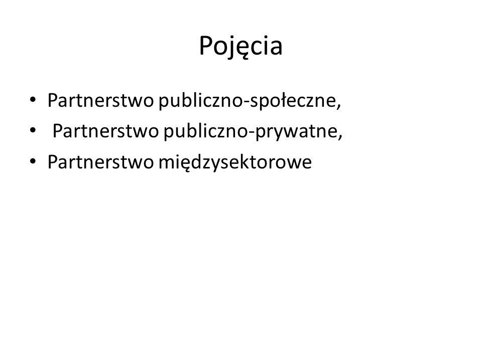 Pojęcia Partnerstwo publiczno-społeczne, Partnerstwo publiczno-prywatne, Partnerstwo międzysektorowe