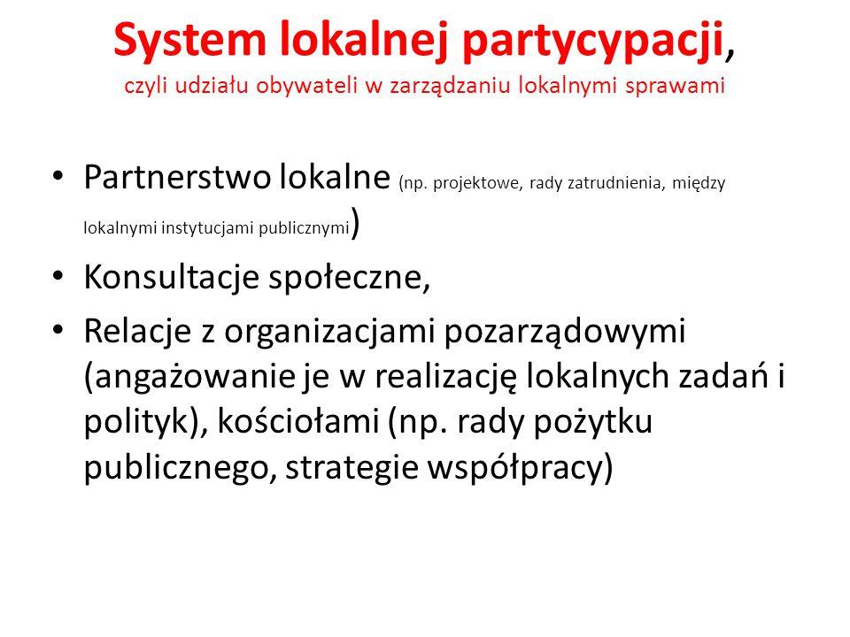 System lokalnej partycypacji, czyli udziału obywateli w zarządzaniu lokalnymi sprawami Partnerstwo lokalne (np. projektowe, rady zatrudnienia, między
