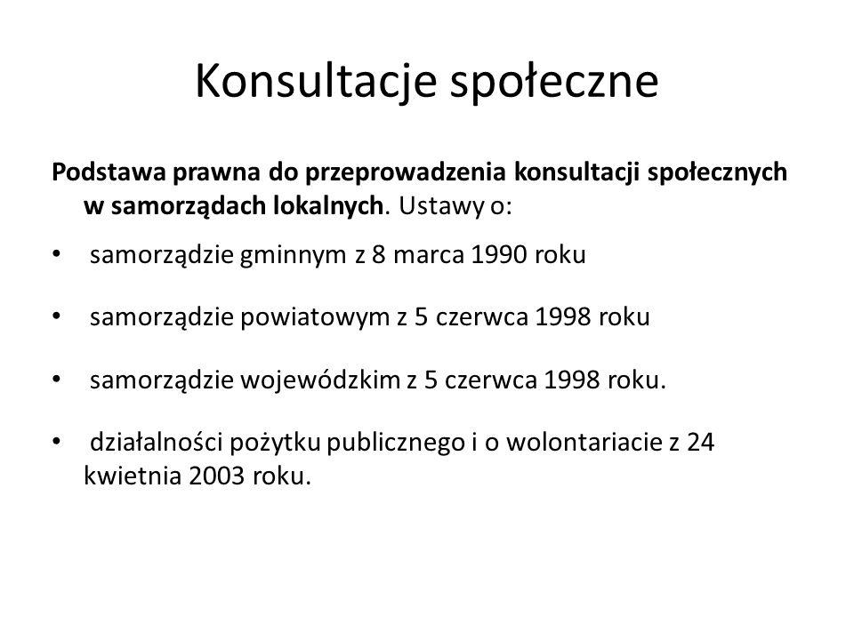 Konsultacje społeczne Podstawa prawna do przeprowadzenia konsultacji społecznych w samorządach lokalnych. Ustawy o: samorządzie gminnym z 8 marca 1990