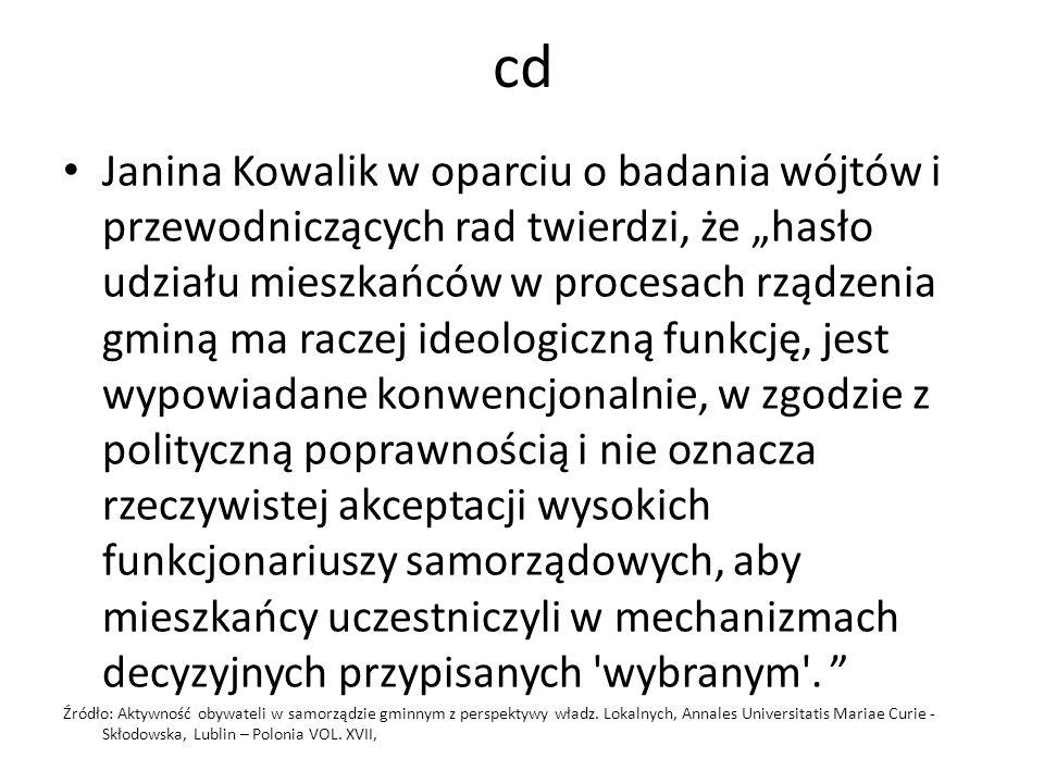 """cd Janina Kowalik w oparciu o badania wójtów i przewodniczących rad twierdzi, że """"hasło udziału mieszkańców w procesach rządzenia gminą ma raczej ideo"""
