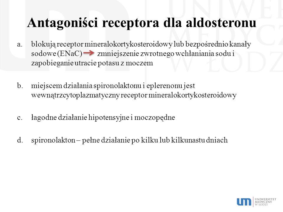 Antagoniści receptora dla aldosteronu a.blokują receptor mineralokortykosteroidowy lub bezpośrednio kanały sodowe (ENaC) zmniejszenie zwrotnego wchłan