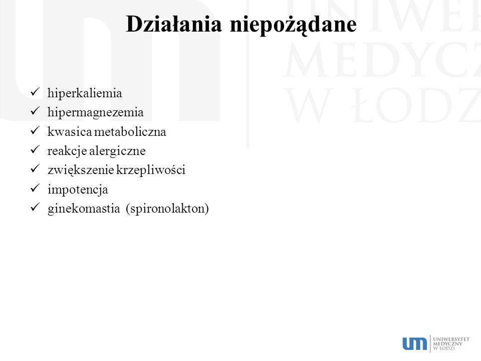 Działania niepożądane hiperkaliemia hipermagnezemia kwasica metaboliczna reakcje alergiczne zwiększenie krzepliwości impotencja ginekomastia (spironol