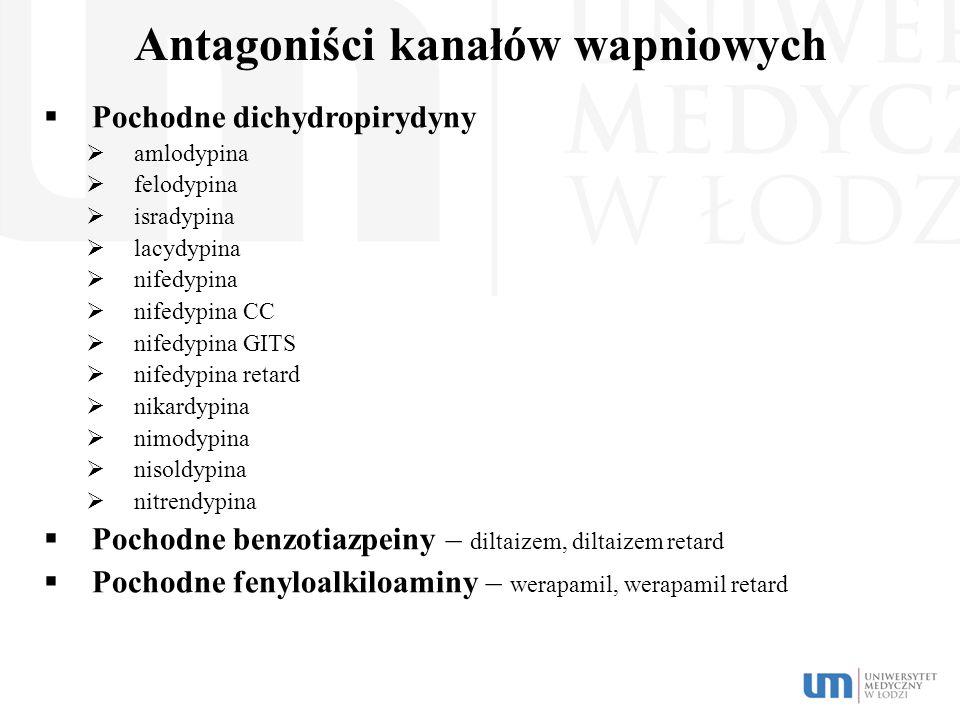 Antagoniści kanałów wapniowych  Pochodne dichydropirydyny  amlodypina  felodypina  isradypina  lacydypina  nifedypina  nifedypina CC  nifedypi
