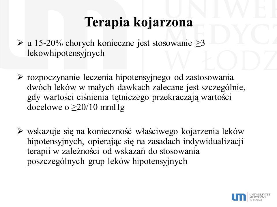 Terapia kojarzona  u 15-20% chorych konieczne jest stosowanie ≥3 lekowhipotensyjnych  rozpoczynanie leczenia hipotensyjnego od zastosowania dwóch le