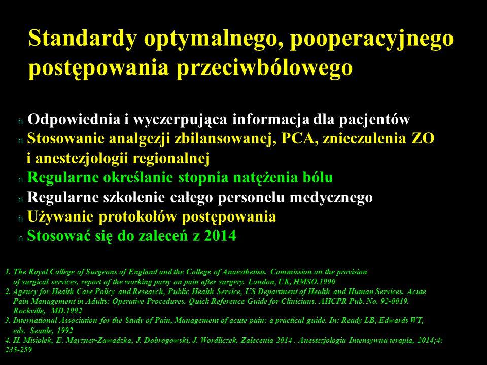 Standardy optymalnego, pooperacyjnego postępowania przeciwbólowego n n Odpowiednia i wyczerpująca informacja dla pacjentów n n Stosowanie analgezji zb