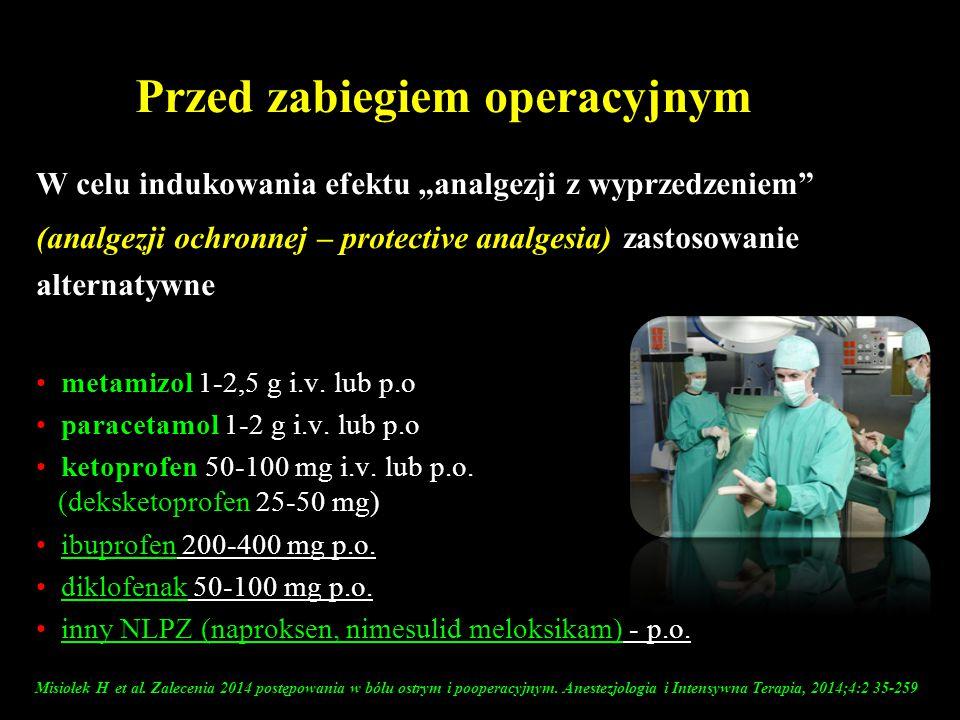 """Przed zabiegiem operacyjnym W celu indukowania efektu """"analgezji z wyprzedzeniem"""" (analgezji ochronnej – protective analgesia) zastosowanie alternatyw"""