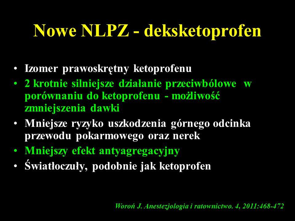 Nowe NLPZ - deksketoprofen Izomer prawoskrętny ketoprofenu 2 krotnie silniejsze działanie przeciwbólowe w porównaniu do ketoprofenu - możliwość zmniej