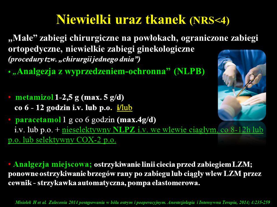 """Niewielki uraz tkanek (NRS<4) """" Małe"""" zabiegi chirurgiczne na powłokach, ograniczone zabiegi ortopedyczne, niewielkie zabiegi ginekologiczne (procedur"""