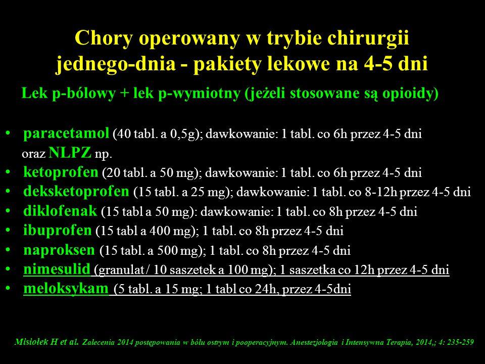 Chory operowany w trybie chirurgii jednego-dnia - pakiety lekowe na 4-5 dni Lek p-bólowy + lek p-wymiotny (jeżeli stosowane są opioidy) paracetamol (4