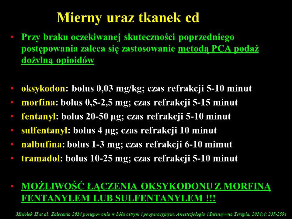 Mierny uraz tkanek cd Przy braku oczekiwanej skuteczności poprzedniego postępowania zaleca się zastosowanie metodą PCA podaż dożylną opioidów oksykodo