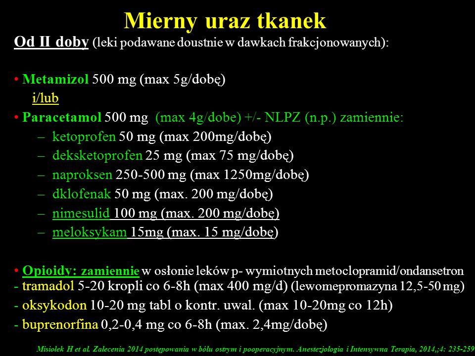 Mierny uraz tkanek Od II doby (leki podawane doustnie w dawkach frakcjonowanych): Metamizol 500 mg (max 5g/dobę) i/lub Paracetamol 500 mg (max 4g/dobe