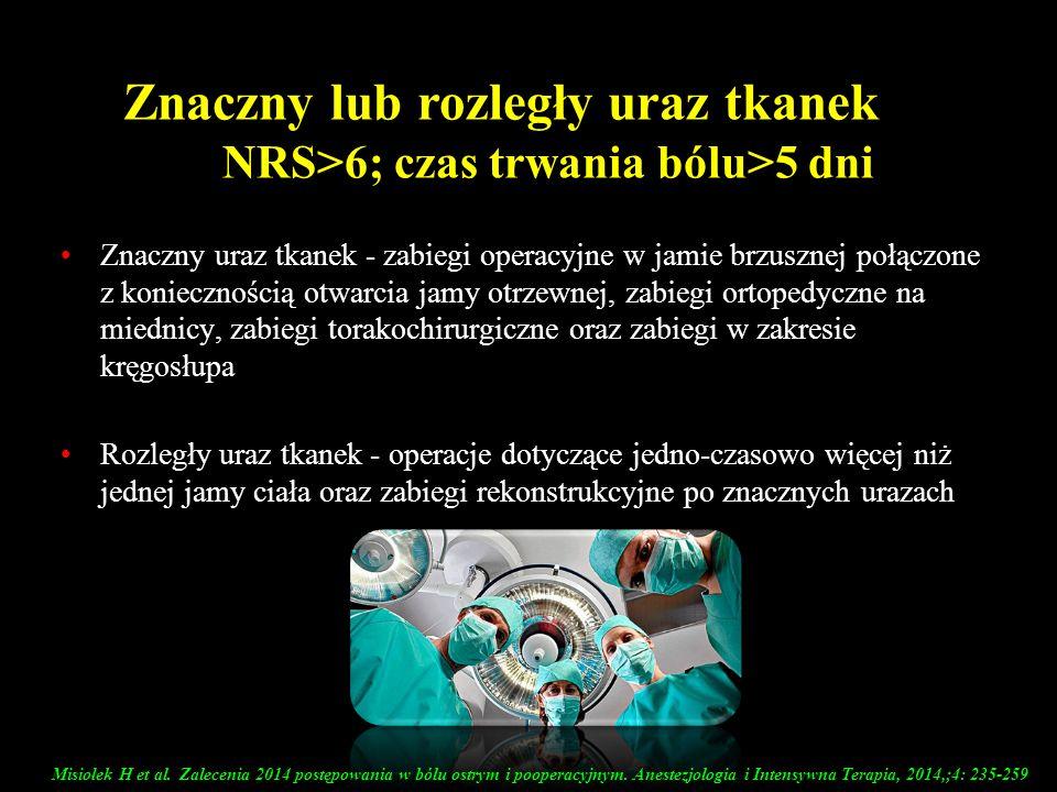 Znaczny lub rozległy uraz tkanek NRS>6; czas trwania bólu>5 dni Znaczny uraz tkanek - zabiegi operacyjne w jamie brzusznej połączone z koniecznością o