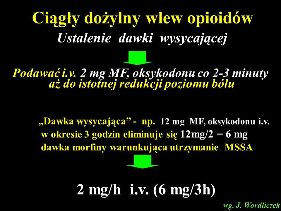 """""""Dawka wysycająca"""" - np. 12 mg MF, oksykodonu i.v. w okresie 3 godzin eliminuje się 12mg/2 = 6 mg dawka morfiny warunkująca utrzymanie MSSA 2 mg/h i.v"""