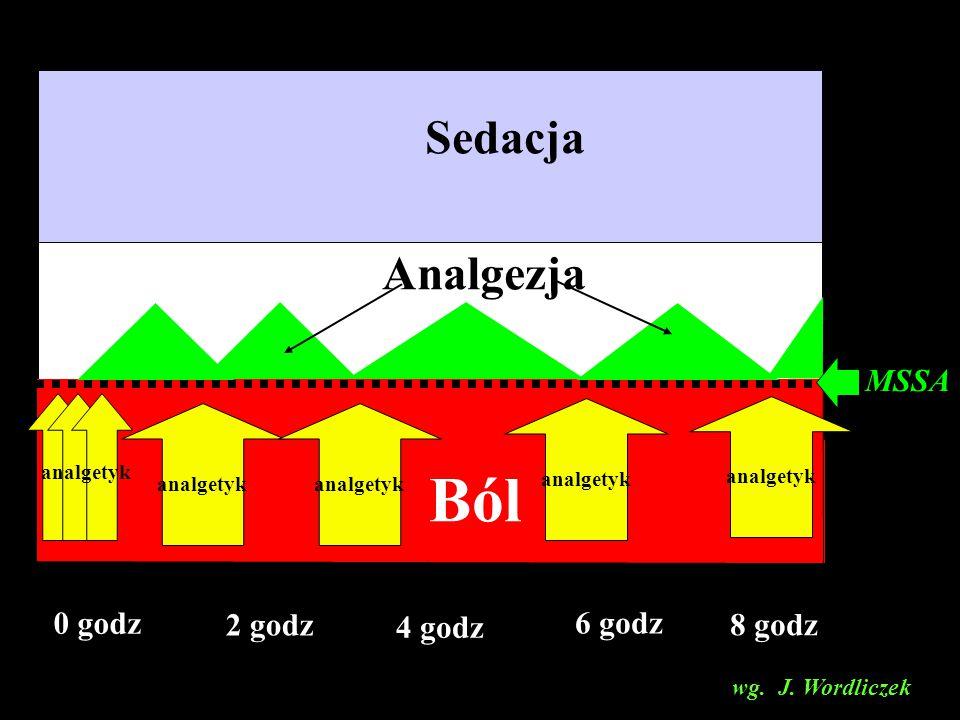Sedacja 0 godz 2 godz 4 godz 6 godz 8 godz Analgezja Ból analgetyk MSSA wg. J. Wordliczek