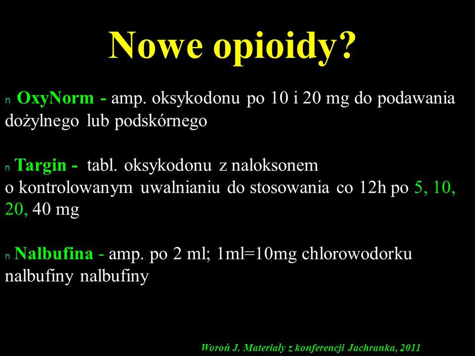 n n OxyNorm - amp. oksykodonu po 10 i 20 mg do podawania dożylnego lub podskórnego n n Targin - tabl. oksykodonu z naloksonem o kontrolowanym uwalnian