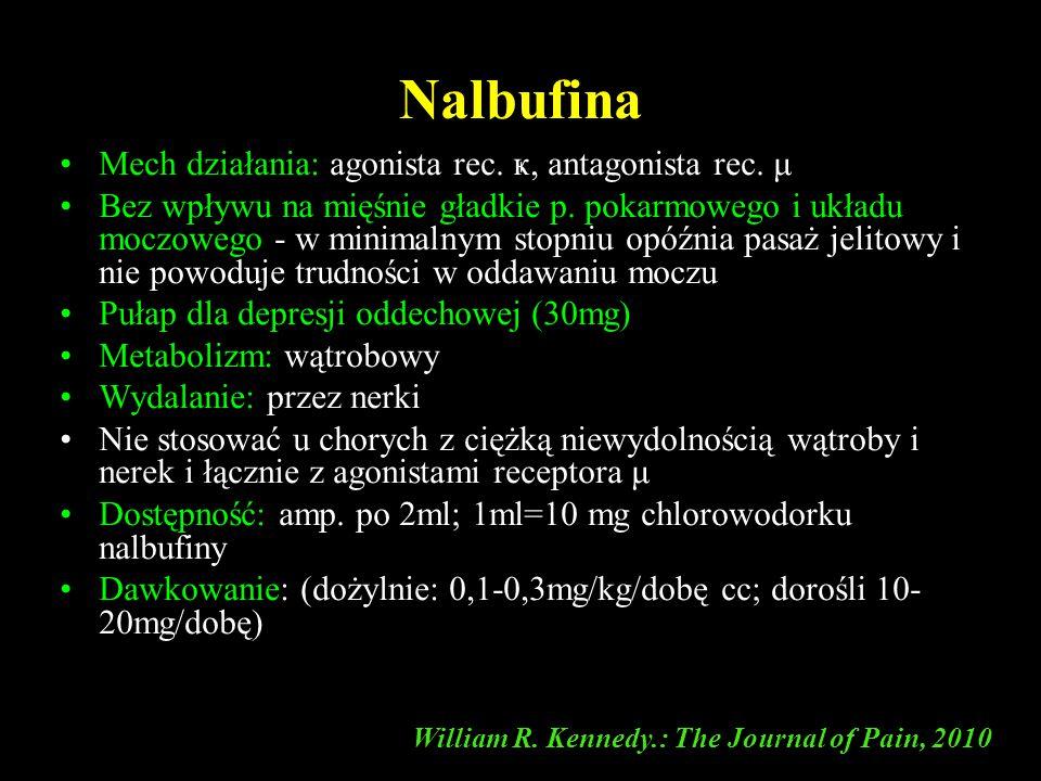 Nalbufina Mech działania: agonista rec. ҝ, antagonista rec. μ Bez wpływu na mięśnie gładkie p. pokarmowego i układu moczowego - w minimalnym stopniu o