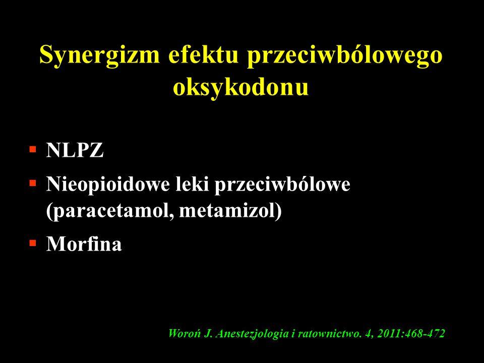 Synergizm efektu przeciwbólowego oksykodonu  NLPZ  Nieopioidowe leki przeciwbólowe (paracetamol, metamizol)  Morfina Woroń J. Anestezjologia i rato