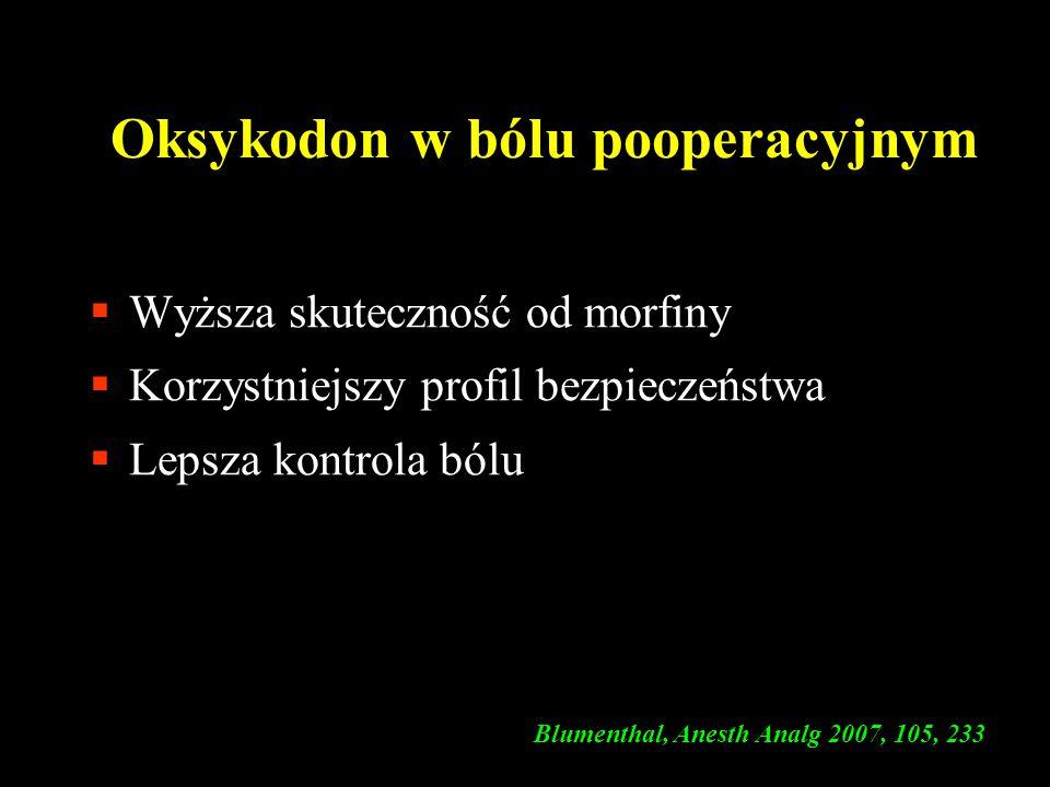 Oksykodon w bólu pooperacyjnym  Wyższa skuteczność od morfiny  Korzystniejszy profil bezpieczeństwa  Lepsza kontrola bólu ( Blumenthal, Anesth Anal