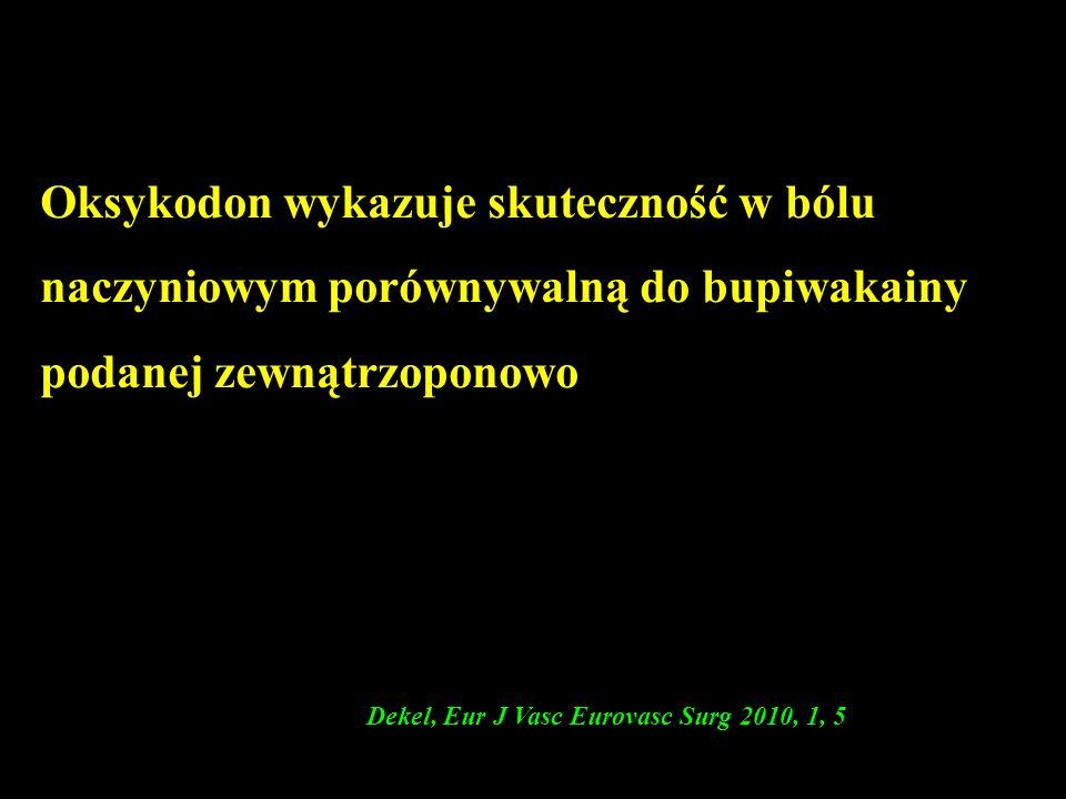 Oksykodon wykazuje skuteczność w bólu naczyniowym porównywalną do bupiwakainy podanej zewnątrzoponowo ( Dekel, Eur J Vasc Eurovasc Surg 2010, 1, 5
