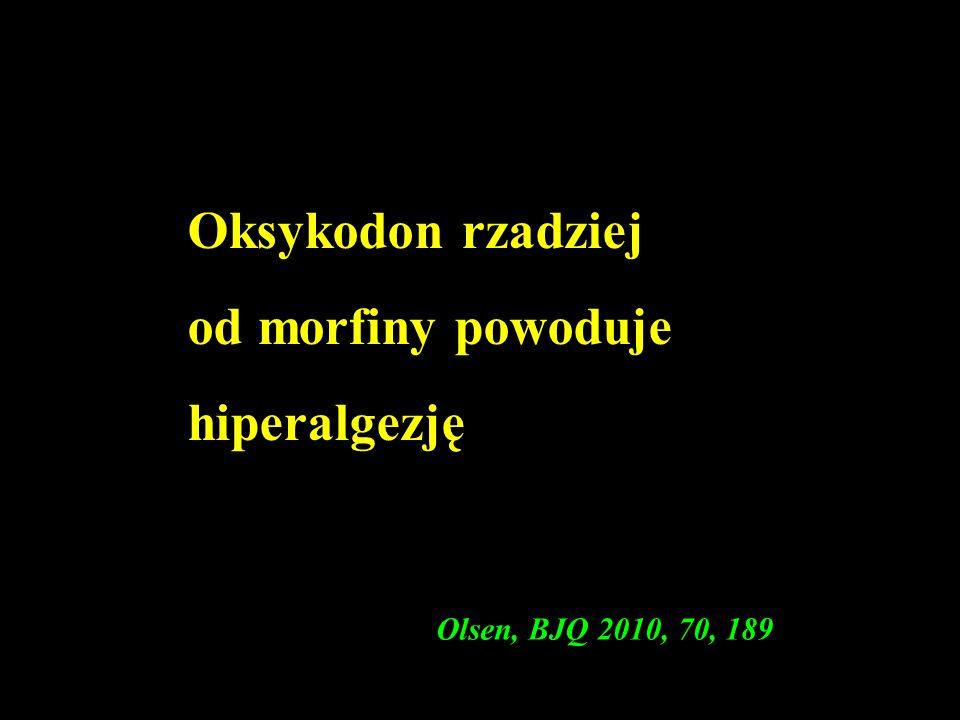 Oksykodon rzadziej od morfiny powoduje hiperalgezję Olsen, BJQ 2010, 70, 189