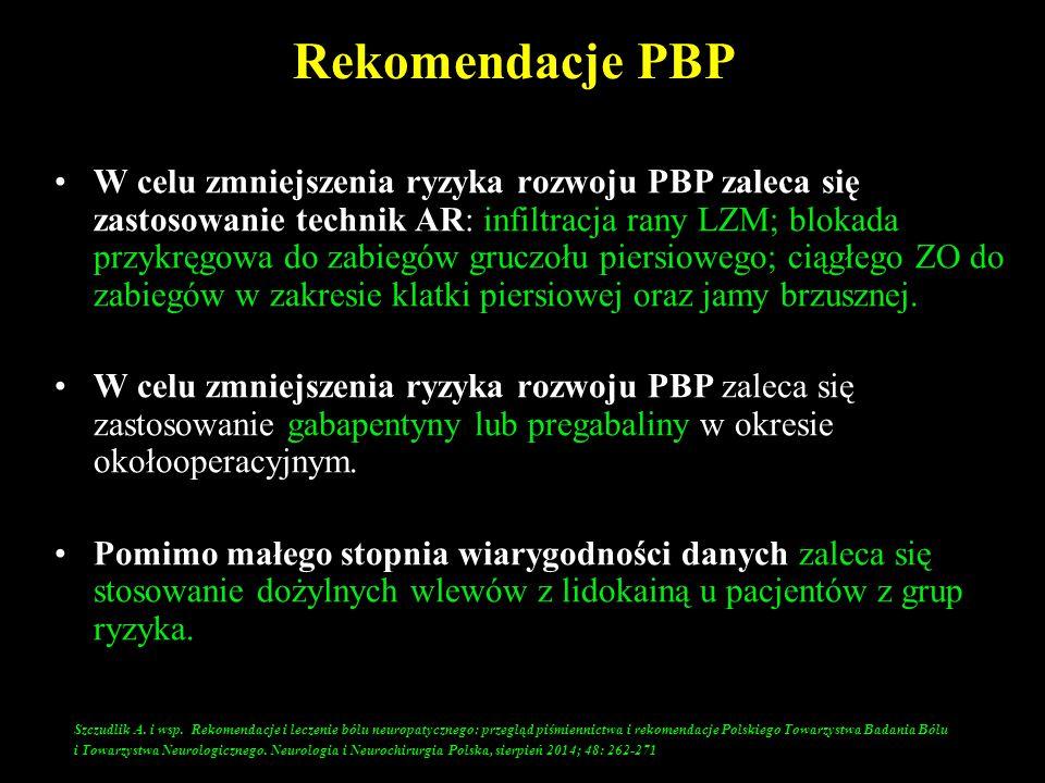 Rekomendacje PBP W celu zmniejszenia ryzyka rozwoju PBP zaleca się zastosowanie technik AR: infiltracja rany LZM; blokada przykręgowa do zabiegów gruc