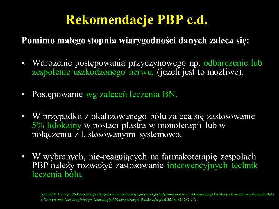 Rekomendacje PBP c.d. Pomimo małego stopnia wiarygodności danych zaleca się: Wdrożenie postępowania przyczynowego np. odbarczenie lub zespolenie uszko