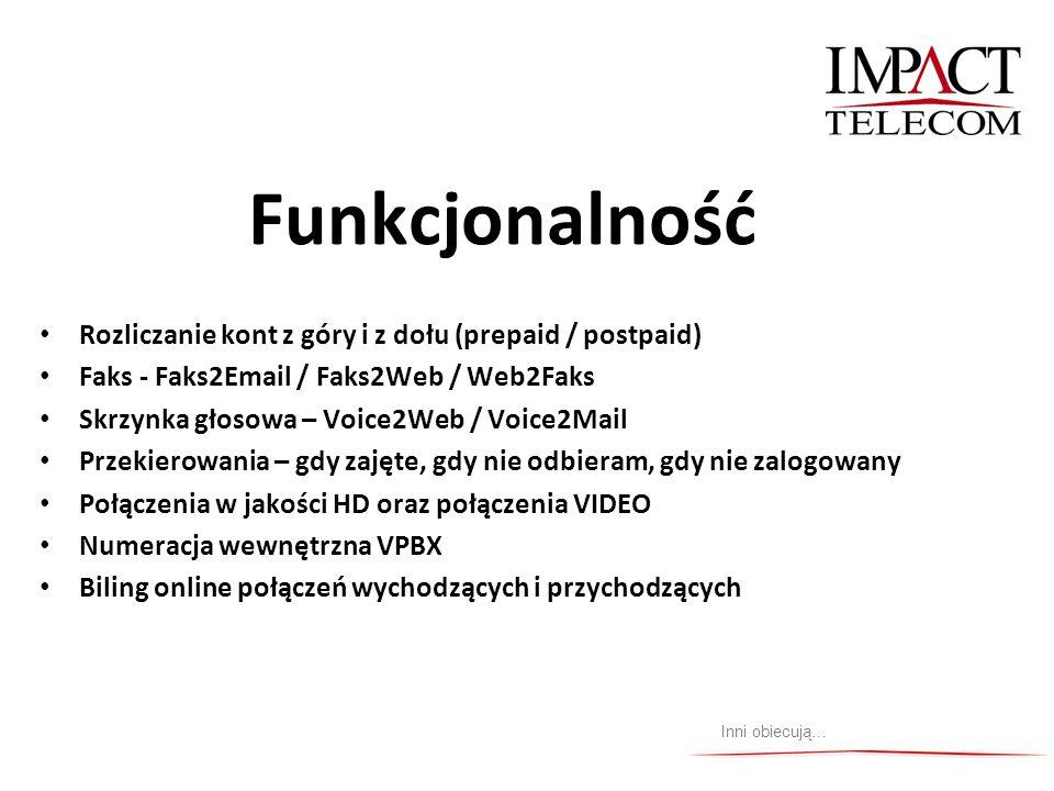 Funkcjonalność Rozliczanie kont z góry i z dołu (prepaid / postpaid) Faks - Faks2Email / Faks2Web / Web2Faks Skrzynka głosowa – Voice2Web / Voice2Mail