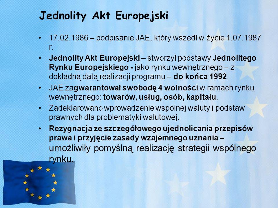 Jednolity Akt Europejski 17.02.1986 – podpisanie JAE, który wszedł w życie 1.07.1987 r.