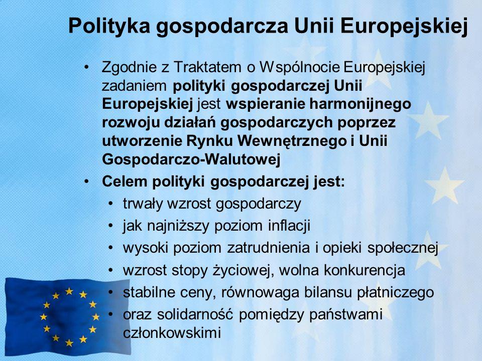 Polityka gospodarcza Unii Europejskiej Zgodnie z Traktatem o Wspólnocie Europejskiej zadaniem polityki gospodarczej Unii Europejskiej jest wspieranie harmonijnego rozwoju działań gospodarczych poprzez utworzenie Rynku Wewnętrznego i Unii Gospodarczo-Walutowej Celem polityki gospodarczej jest: trwały wzrost gospodarczy jak najniższy poziom inflacji wysoki poziom zatrudnienia i opieki społecznej wzrost stopy życiowej, wolna konkurencja stabilne ceny, równowaga bilansu płatniczego oraz solidarność pomiędzy państwami członkowskimi