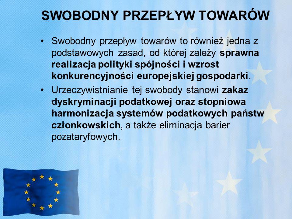 SWOBODNY PRZEPŁYW TOWARÓW Swobodny przepływ towarów to również jedna z podstawowych zasad, od której zależy sprawna realizacja polityki spójności i wzrost konkurencyjności europejskiej gospodarki.