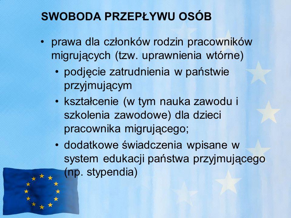 SWOBODA PRZEPŁYWU OSÓB prawa dla członków rodzin pracowników migrujących (tzw.
