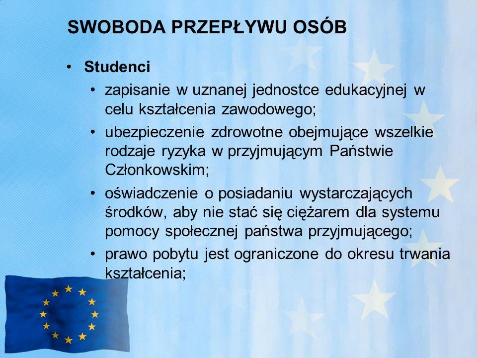 SWOBODA PRZEPŁYWU OSÓB Studenci zapisanie w uznanej jednostce edukacyjnej w celu kształcenia zawodowego; ubezpieczenie zdrowotne obejmujące wszelkie rodzaje ryzyka w przyjmującym Państwie Członkowskim; oświadczenie o posiadaniu wystarczających środków, aby nie stać się ciężarem dla systemu pomocy społecznej państwa przyjmującego; prawo pobytu jest ograniczone do okresu trwania kształcenia;