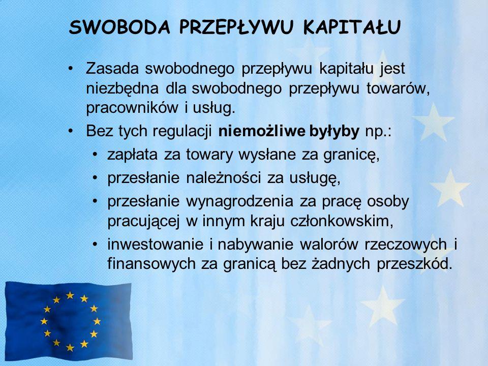 SWOBODA PRZEPŁYWU KAPITAŁU Zasada swobodnego przepływu kapitału jest niezbędna dla swobodnego przepływu towarów, pracowników i usług.