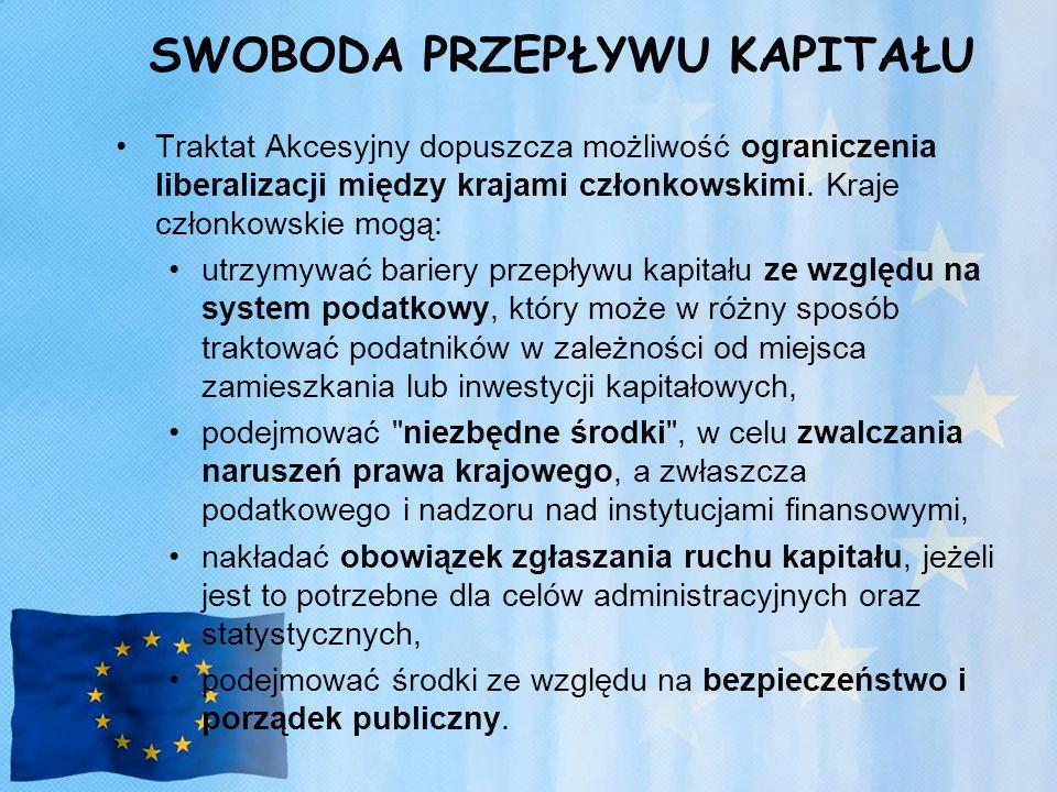 SWOBODA PRZEPŁYWU KAPITAŁU Traktat Akcesyjny dopuszcza możliwość ograniczenia liberalizacji między krajami członkowskimi.