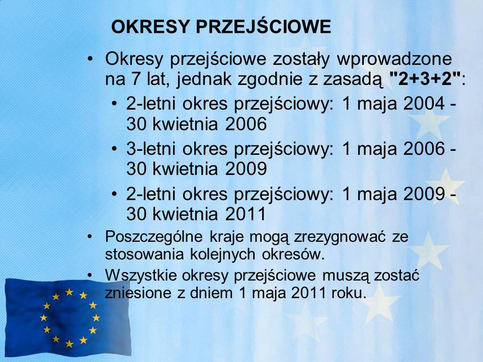 OKRESY PRZEJŚCIOWE Okresy przejściowe zostały wprowadzone na 7 lat, jednak zgodnie z zasadą 2+3+2 : 2-letni okres przejściowy: 1 maja 2004 - 30 kwietnia 2006 3-letni okres przejściowy: 1 maja 2006 - 30 kwietnia 2009 2-letni okres przejściowy: 1 maja 2009 - 30 kwietnia 2011 Poszczególne kraje mogą zrezygnować ze stosowania kolejnych okresów.