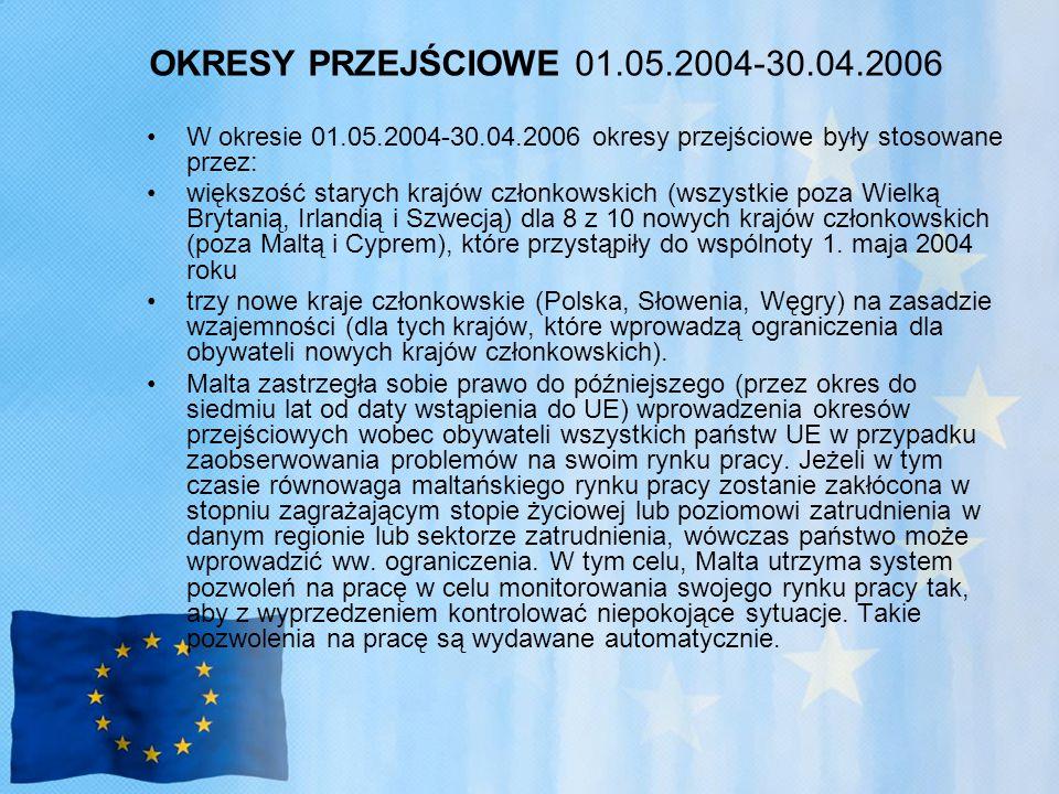 OKRESY PRZEJŚCIOWE 01.05.2004-30.04.2006 W okresie 01.05.2004-30.04.2006 okresy przejściowe były stosowane przez: większość starych krajów członkowskich (wszystkie poza Wielką Brytanią, Irlandią i Szwecją) dla 8 z 10 nowych krajów członkowskich (poza Maltą i Cyprem), które przystąpiły do wspólnoty 1.