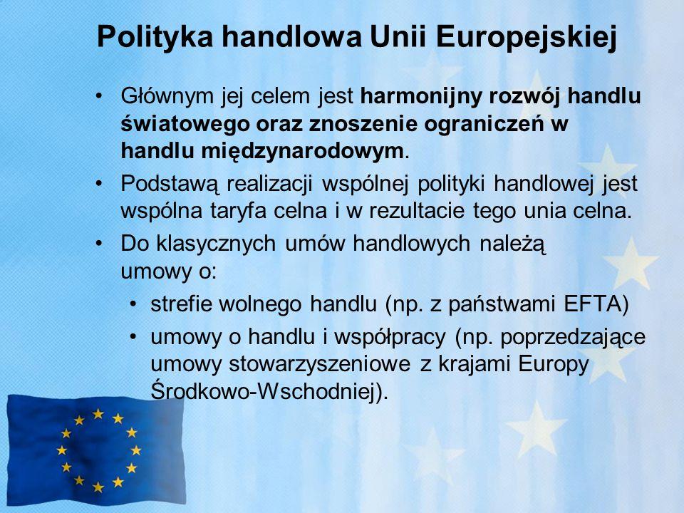 Polityka handlowa Unii Europejskiej Głównym jej celem jest harmonijny rozwój handlu światowego oraz znoszenie ograniczeń w handlu międzynarodowym.