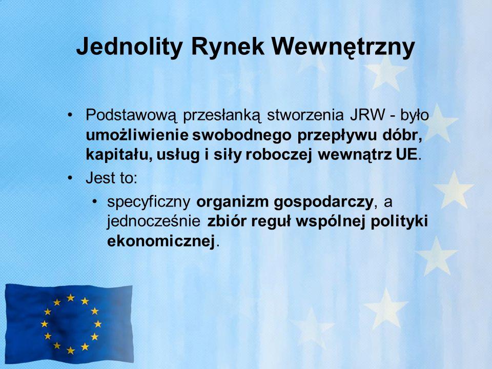 Jednolity Rynek Wewnętrzny Podstawową przesłanką stworzenia JRW - było umożliwienie swobodnego przepływu dóbr, kapitału, usług i siły roboczej wewnątrz UE.