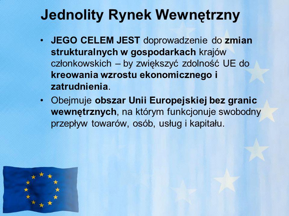 Jednolity Rynek Wewnętrzny JEGO CELEM JEST doprowadzenie do zmian strukturalnych w gospodarkach krajów członkowskich – by zwiększyć zdolność UE do kreowania wzrostu ekonomicznego i zatrudnienia.